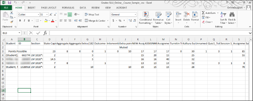 Screenshot of the Excel sheet.