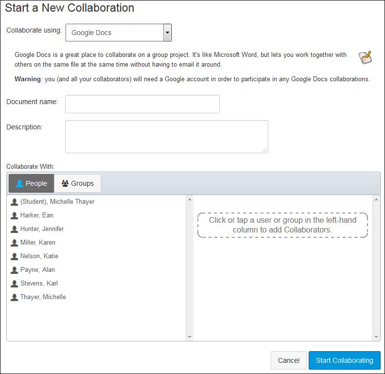 Screenshots of collaborations.