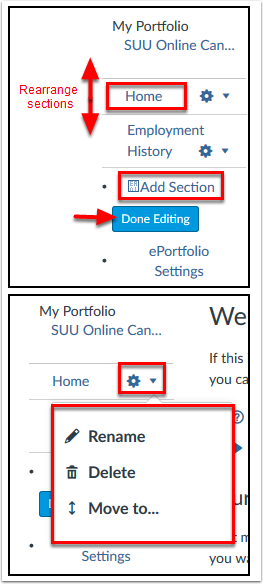 Screenshot of managing sections.