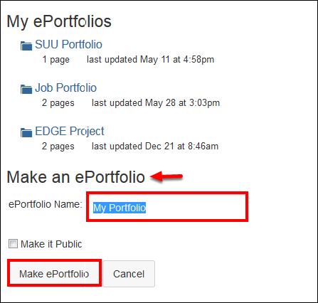 Screenshot of the Make ePortfolio button.