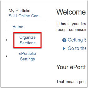 Screenshot of the Organize Sections button.