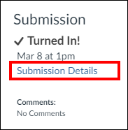 Screenshot of the Submission Details button.