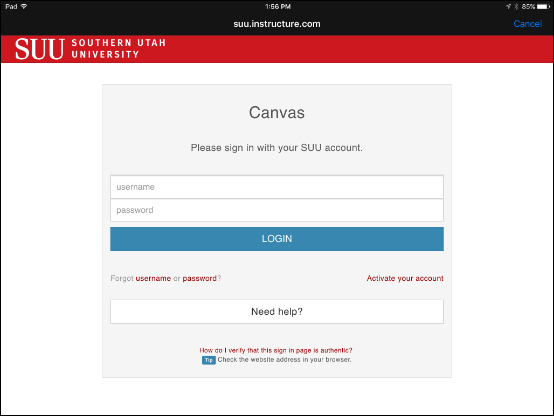 Screenshot of the login page.