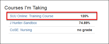 Screenshot of selecting a course.