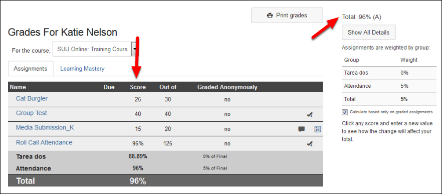 Screenshot of the grades page.