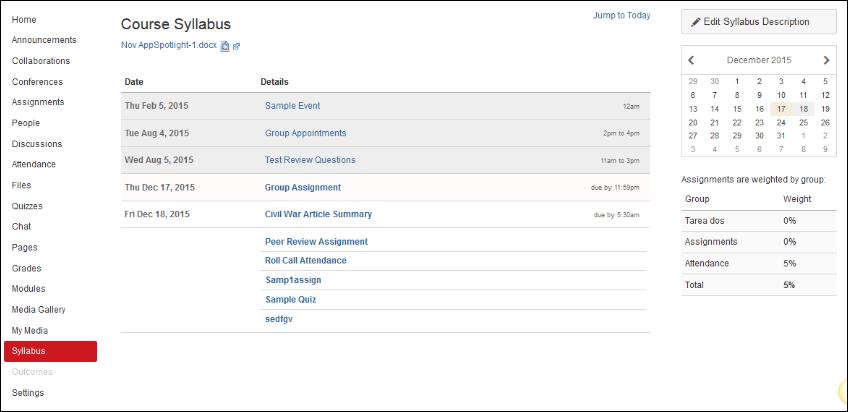 Screenshot of the syllabus