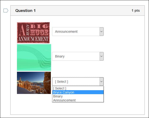 Screenshot of a matching quiz.