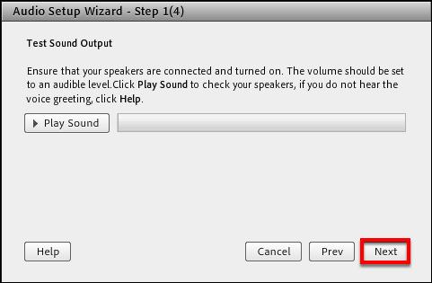 Screencast of the Audio Setup Wizard