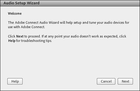 Screenshot of the Audio Setup Wizard.