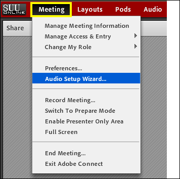 Screenshot of the Meeting menu.