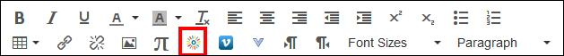 Screenshot of the toolbar and Kaltura icon.