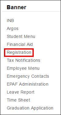 Screenshot of the Registration option.