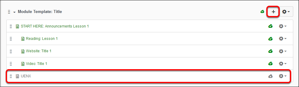 screenshot of module tab