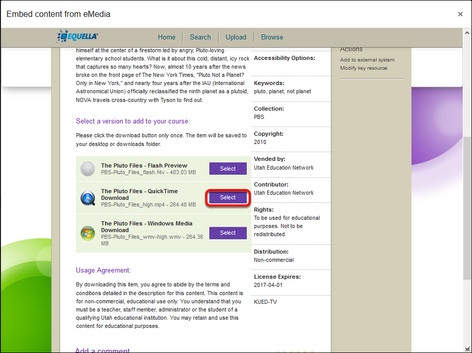 screenshot of the selection tool for videos