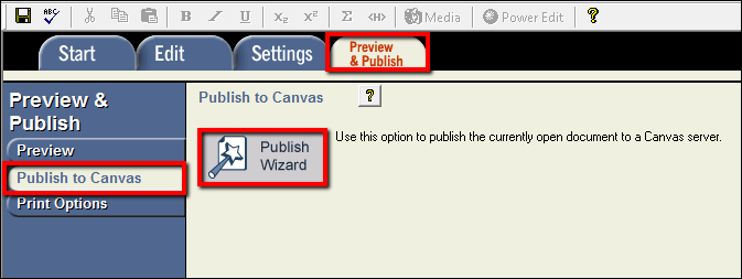 Screenshot of the Publish Wizard button.