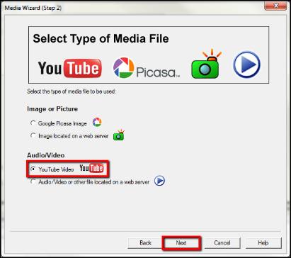 Screenshot of choosing YouTube video.