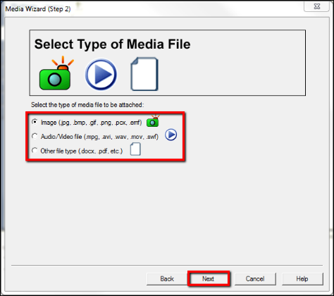 Screenshot of selecting the media type.
