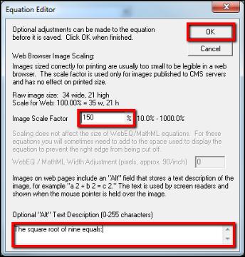 Screenshot of setting the scale.