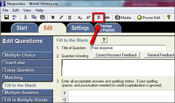 Screenshot of the Equation button.