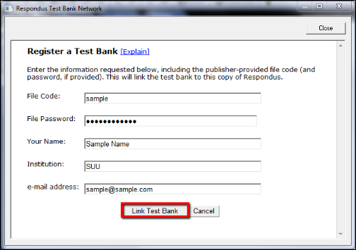 Screenshot of the Link Test Bank button.