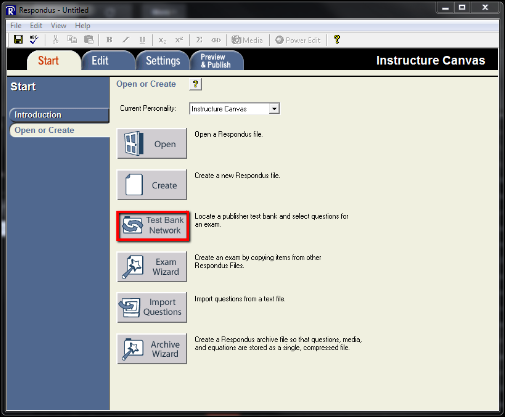 Screenshot of the Test Bank Network button.