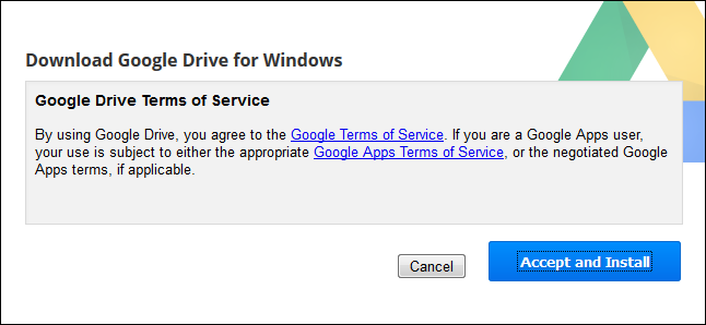 Screenshot of the Accept and Install button.
