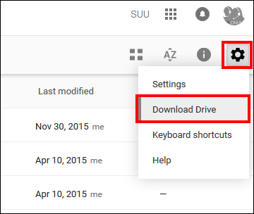 Screenshot of the Download Drive option.