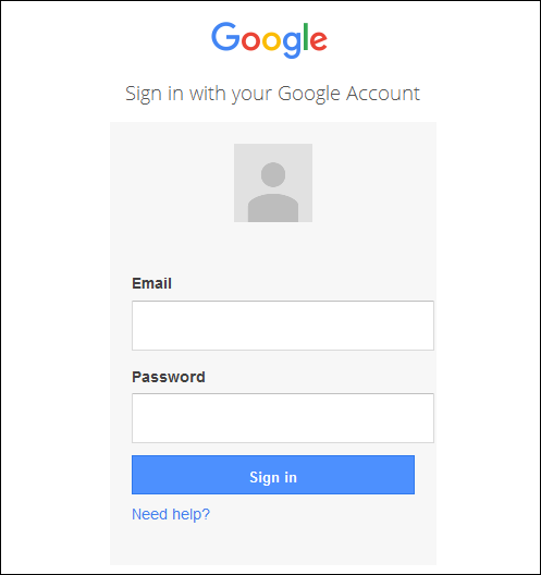 Screenshot of the Google login page.