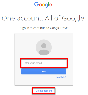Screenshot of the google login.