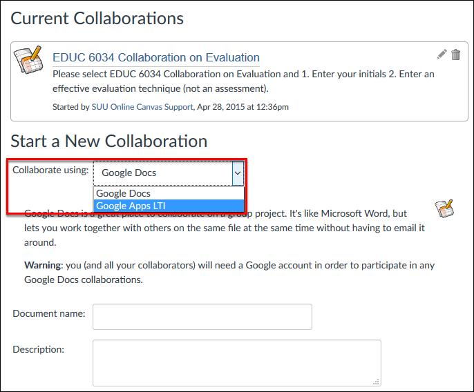 Screenshot of the Collaborate Using dropdown menu.