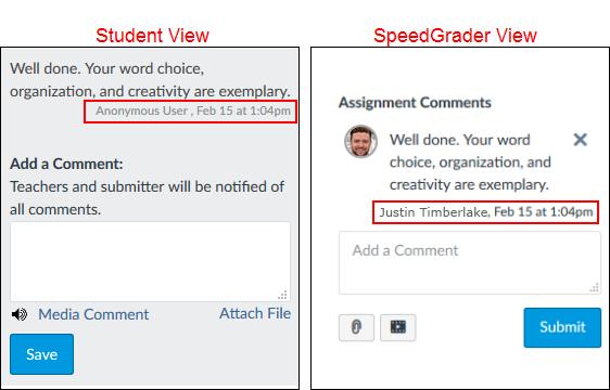 Screenshot of student and SpeedGrader views.