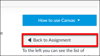 Screenshot of the Back to Assignment button.