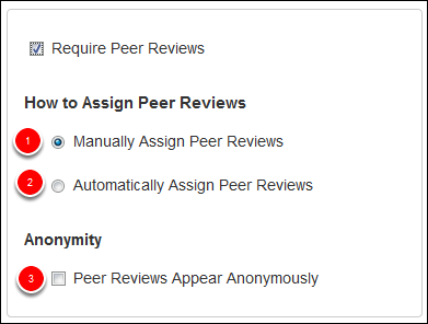 Screenshot of the peer review options.