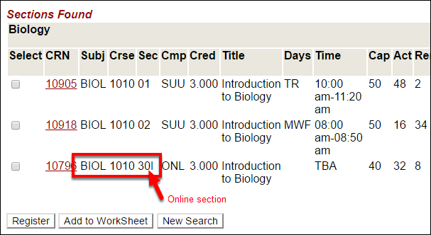 Screenshot of an online course in the course search.