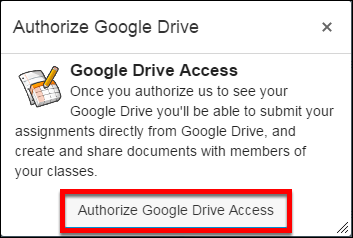Screenshot of the Authorize Google Docs window.