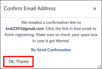Screenshot of the Confirm Email Address window.