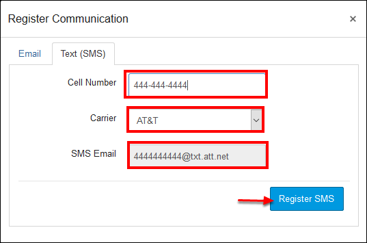 Screenshot of the Register Communication window.