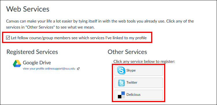 Screenshot of the Web Services section.