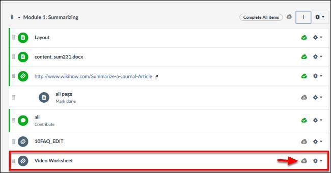 Screenshot of publishing the file.