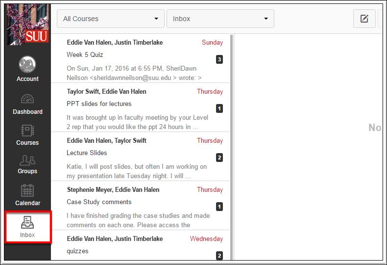 Screenshot of the Inbox button.