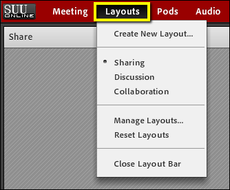 Screenshot of the Layouts menu.