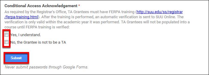 Screenshot o f the FERPA agreement.
