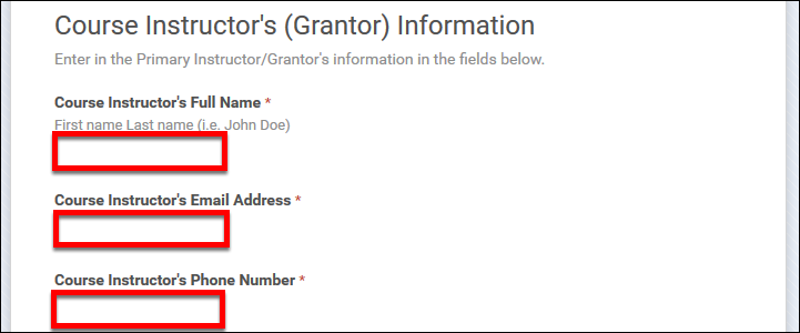 Screenshot of the instructor's information.
