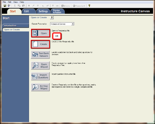 Screenshot of opening or creating a question list.