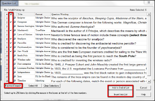 Screenshot of the checkmarks.