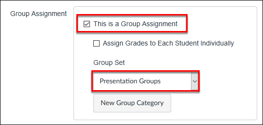 Screenshot of the group assignment option.