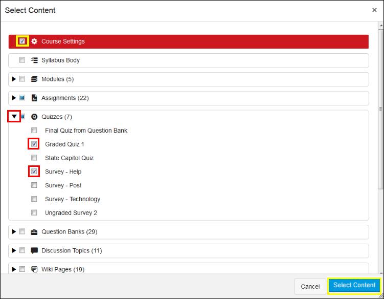 Screenshot of selecting items.