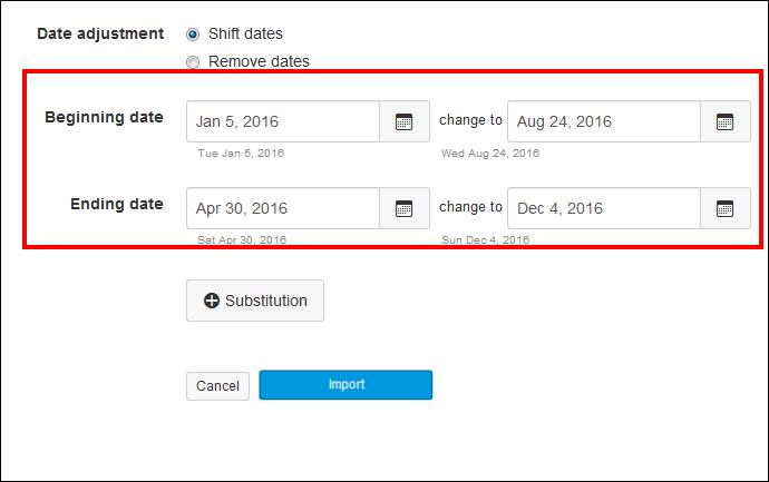 Screenshot of shifting the dates.