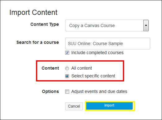 Screenshot of the Content section and Import button.