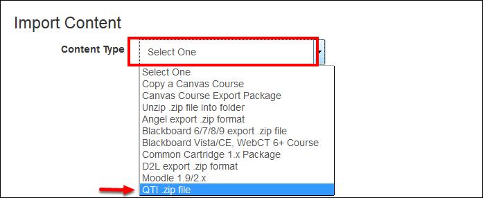 Screenshot of the Content Type dropdown menu.